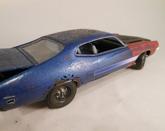 Made in USA, Barn Find, Rusted Scale Model, Ford Car, Classicwrecks, Blue Ford