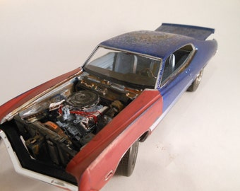 Made in USA Barn Find Rusted Scale Model Ford Car by Classicwrecks in Blue