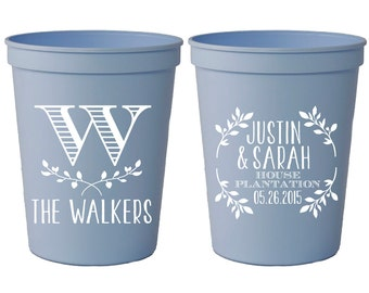 Wedding Favor Cups, Personalized Wedding Cups, Monogrammed Wedding Cups, Monogrammed Cups, Wedding Cups, Custom Plastic Cups, 1055