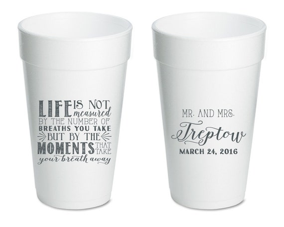 Wedding Take Away Gifts: Personalized Wedding Cups Styrofoam Cups By SipHipHooray