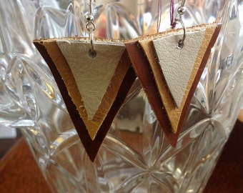 Three layer triangle leather earrings