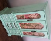Hand Painted Elegant Mint Hand Painted Wood Jewelry Box