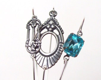 SALE Art Nouveau Bracelet set, Silver Bangle set, aquamarine, silver arm bracelet, 3, crystal, aqua, stacking bracelet, stainless, blue