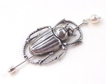 Silver Scarab Shawl Pin, Beetle Lapel Pin, silver shawl pin, stick pin, hat pin, fall fashion, bug, scarf pin