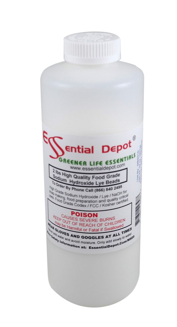 10 lbs LYE FREE SHIP - Food Grade Sodium Hydroxide - 5 x 2 lb Bottles