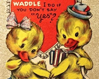 Vintage Ducklings Valentine