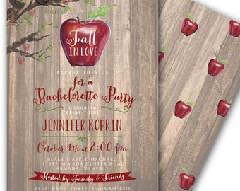 Fall in Love Fall Bridal Shower Invitation Fall Wedding Shower Autumn Bridal Shower Apple Picking Apple Orchard  5x7 Printable Apple Party