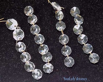 Vintage Set of Chandelier Crystals Strands with Six Prisms on Each