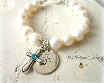 Girls Baptism Gift. Girl's First Communion Gift. Birthstone Cross Bracelet. Girl's Genuine Pearl Initial Bracelet. First Communion Jewelry