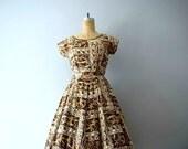1950s Hawaiian dress . vintage 50s palm tree print dress