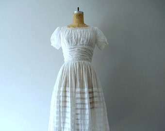 White cotton dress . vintage 1950s wedding dress
