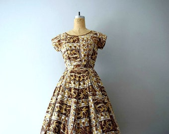 1950s Hawaiian dress . vintage 50s palm tree print dress