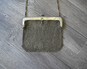 1920s mesh purse . vintage 20s chain link purse