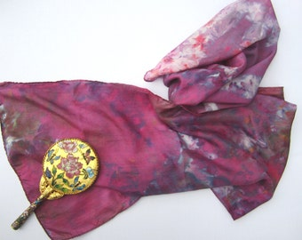 Ice-Dyed Silk Scarf in Purple with Multicolor