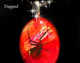 Trapped Spider Glass Pendant