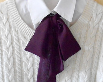 Burgundy Bow Tie Scarf / Women Neck Accessory / Necktie Ascot Scarf