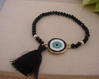 Gorgeous Black Handmade Evil Eye Tassel Bracelet Greek Mati