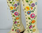 Rare Vintage 1960's Jerry Edouard PeNNy LaNe ALmoSt Famous Embroidered HiPPiE BoHo Laced Granny BooTs Size 7 / 7.5