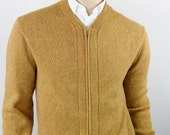 Vintage 1950's Men's Rob Scott Knit Space Dyed Zippered Cardigan HiPsTeR WOOL Sweater M L 44