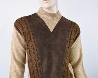 Vintage 1950's Men's 2 Ply Wool & Suede Leather Knit HiPsTeR Rat Pack AToMiC Era Sweater M