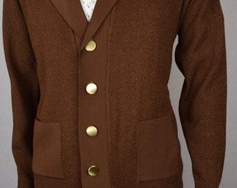 Vintage 1950's 60's Men's Donegal Coleseta Brown Knit Cardigan Mod Hipster Sweater Jacket M