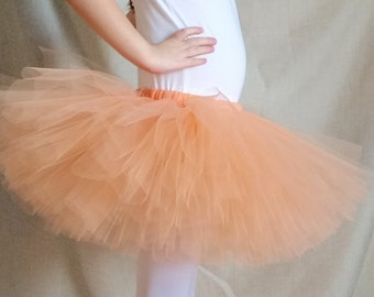 Peach Tutu, Peach and Gold Tutu, Peach Tulle, Birthday Outfit, 1st Birthday Party, Baby Shower Gift, Baby Tutu, Toddler Tutu, Girl Tutu