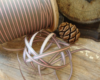 3 Yards Vintage Grey and Pink Paper Ribbon