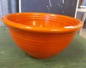 Very Nice Antique ORANGE/RED Pottery Mixing BOWL - Probably Bauer