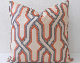 Double sided, Orange and gray embroidered geometric trellis decorative pillow cover