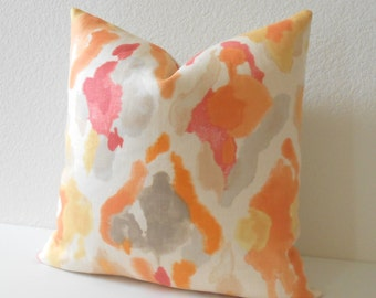 Double sided, Coral, Orange abstract watercolor decorative pillow cover