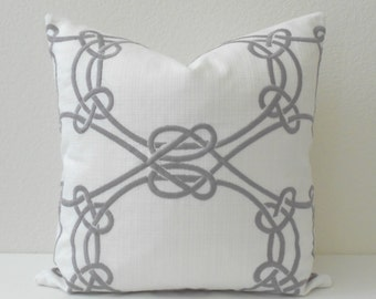 Gray and white embroidered rope trellis decorative throw pillow