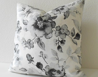 Double sided, Black and white floral Decorative Pillow Cover
