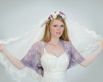 Dusty purple lace shawl/ shrug. 4 wearing options- shawl, shrug, twist and scarf.  Bridesmaids shrugs (DL300)
