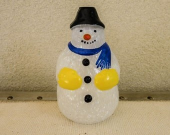 Art Glass Snowman Oil Lamp Made with Ash from Mount St. Helens - Vintage Christmas Decoration