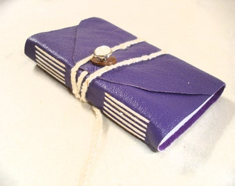 Mini Purple Pocket Journal-Leather-Handmade-Vintage Button