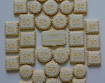 Anniversay or Birthday Number Party Platter Hand decorated sugar cookies - 37 cookies (#2454)