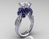 Classic 14K White Gold 3.0 Ct White and Blue Sapphire Knot Engagement Ring R390-14KWGBSWS