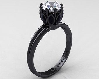 Elizabeth II - Classic 14K Black Gold Marquise Black Diamond 1.0 Ct Round White Diamond Solitaire Ring R90-14KBGBDD