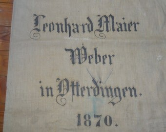 Antique GERMAN grain sack , linen, hand woven, original printed