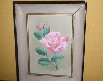 Hand Painted/SINGLE PINK ROSE/Wood Frame/Ready to Hang