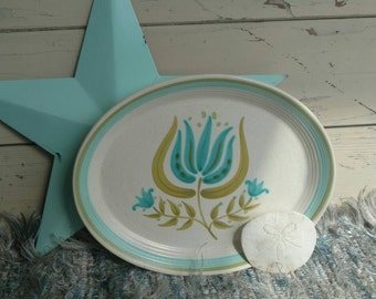 Retro Franciscan Tulip Time Platter - Vintage Floral Plate + Serving Ware, Home or Wall Decor, Mid Century Earthenware, Kitsch Aqua Platter