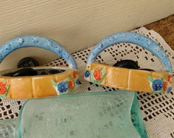 Antique Petite Matching Trinket Holder - Vintage Floral Ring Dish or Basket, Mini Soap Dishes, Bisque Art, Orange + Blue China Baskets
