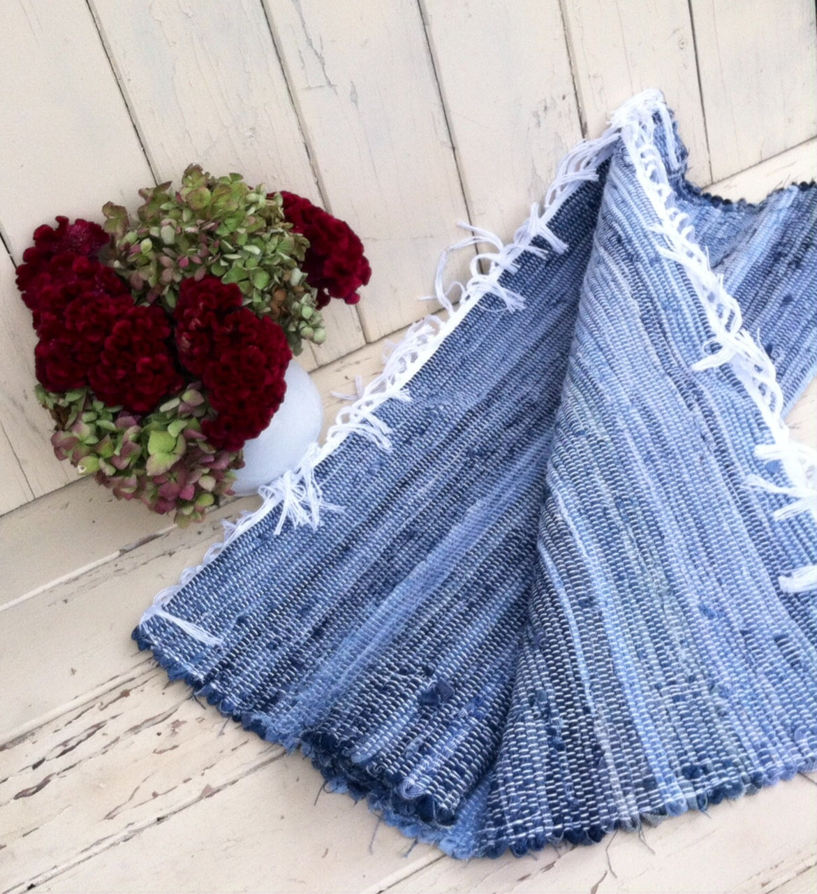 Handmade Amish Blue Jean Rag Rug Cabin Chic Throw Rug Loom