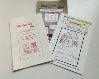 Lot of 3 Redwork Embroidery Patterns