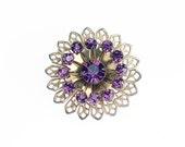 Vintage Purple Rhinestone Brooch Gold Tone Filigree Style Pin
