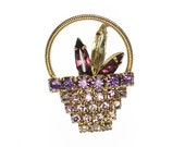 Vintage Lavender Purple Crystal Basket Brooch Gold Tone Rhinestone Pin