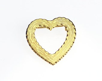 Plain and Simple Open Heart Brooch Shiny Gold Tone Vintage Pin Love