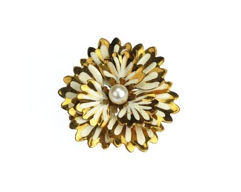Gold and White Layered Ruffled Flower Brooch Chrysanthemum Vintage Pin