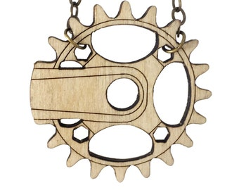 BIKE CRANK | wood necklace, bicycle necklace, mountain bike necklace, unisex crank necklace: laser cut wood gear necklace