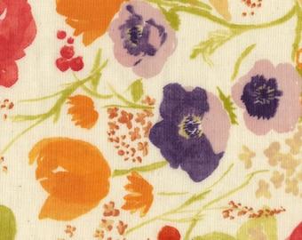 "Nani Iro Fuccra Rakuen in ""Phi Phi"" floral on natural cotton double gauze fabric, by the yard"